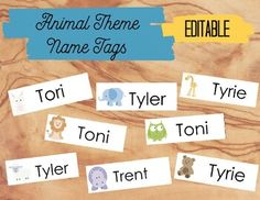 Animal Theme Name Tags - Editable by The Peaceful Elementary Teacher Name Tag For School, First Day Of School, Name Labels, Name Tags, I Can Statements, Copy Paper, Elementary Teacher, Classroom Decor, Preschool