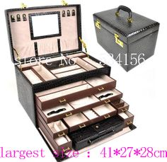 brown luxury PU 5 layer leather jewelry box  watch  gifts necklaces pendants earrings jewelry holder gift box (41*27*28cm) $195,36