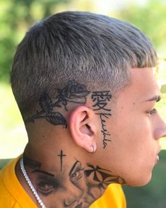 Professional hair styling products that give you the tools to confidently express your authentic self. Fade Haircut Styles, Low Fade Haircut, Crop Haircut, Haircut Men, Young Men Haircuts, Small Face Tattoos, Kopf Tattoo, Men Hair Color, Faded Hair