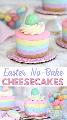 Here's a super cute and easy Easter dessert! No-bake mini cheesecakes in pastel colors, perfect for serving after Easter dinner. Top with an Easter egg candy for the perfect finishing touch! desserts ideas easy Easter No-Bake Mini Cheesecakes Easy Easter Desserts, Easter Treats, Holiday Desserts, No Bake Desserts, Delicious Desserts, Easter Appetizers, Easter Deserts, Baking Desserts, Cake Baking
