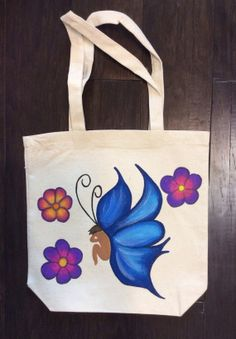 """Tote Bag with Hand Painted Fairy and Flowers by GulfLifebyNichole, $22.99 Canvas Tote bag. Hand painted Fairy and Flowers by Nichole Ashley Elder.  New. Measures 12 1/4"""" x 12 1/2"""" with 8"""" strap. Hand painted with fabric paint.  Machine washable on delicate cycle in cold water. #fairies #grocerytote"""