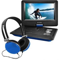"""nice Ematic 10"""" Transportable Swivel Display screen DVD Participant w/ Headphones, Automotive Mount - Blue"""