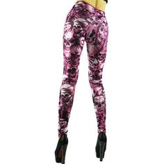 Intimates21 -Gothic Punk Sexy Hot Pink Skull Print Leggings Tights Pants Intimates21. $16.80