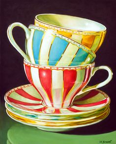 Stacked Striped Teacups by Margaret Horvat Oil ~ 10 inches x 8 inches