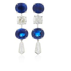 Bayco One-of-a-Kind Sapphire & Diamond Earrings ($190,000) ❤ liked on Polyvore featuring jewelry, earrings, blue, earring jewelry, blue sapphire earrings, sapphire jewelry, sapphire diamond earrings and diamond jewellery