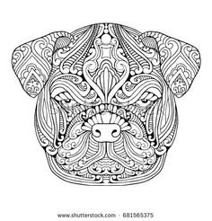 Zentangle drawing of Lola the bulldog. Visit www.etsy.com