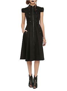 "<p>Black steampunk style dress with black button detailing, high collar, cap sleeves and a front zipper closure.</p>  <ul> <li>40"" long from shoulder</li> <li>98% cotton; 2% spandex</li> <li>Wash cold; hang dry</li> <li>Imported</li> </ul>"