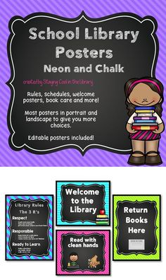 Decorate your school library with these bright posters. This is a set of 48 posters with bright neon backgrounds and a chalkboard theme. There are posters in both portrait and landscape orientation. I have also included a set of editable PowerPoint files so you can add your own text. The editable files do not include any images on them, just blank posters. I embedded the same font into the pages so you can keep a uniform look.