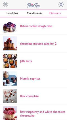 """Delicious #CleanTreat Dessert Recipes. Download our FREE ThinTea Recipe iPhone & Android App today! Simply search in the App Store: """"ThinTea"""""""