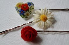 Hair Pin Pack  Vintage Glass Heart Red Rose and by TheSilverDog, $10.00