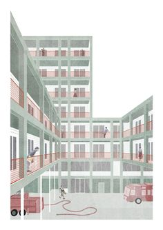 DIERENDONCKBLANCKE | a f a s i a Architecture Collage, Architecture Portfolio, Architecture Design, Architectural Section, Architectural Drawings, Sectional Perspective, 3d Collage, Drawing Projects, Technical Drawing