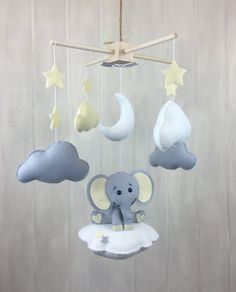 Baby mobile  elephant mobile  baby crib mobile  cloud