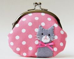 Cat coin purse gray kitty on pink polka dots by oktak on Etsy, $33.00