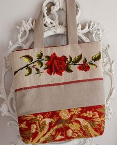 French needlepoint red roses tapestry and by FrenchDecoChic