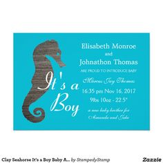 Clay Seahorse It's a Boy Baby Announcement