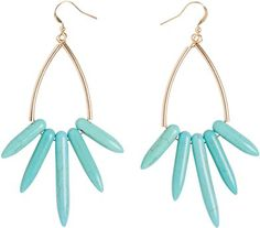 Turquoise dangle earrings. http://www.swell.com/New-Arrivals-Womens/RACKED-TURQUOISE-DANGLE-EARRINGS?cs=TQ