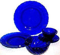 details about duralex bormioli rocco france cobalt swirl coffee tea cup and saucer set frances. Black Bedroom Furniture Sets. Home Design Ideas