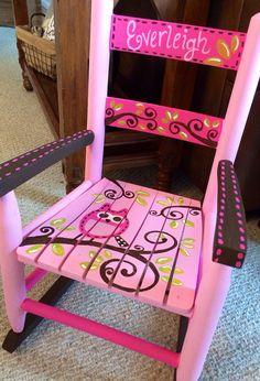 Girls rocking chair - pink and brown - owls - child rocker - kids rocker - Custom