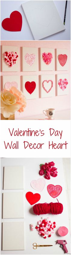 Valentine's Day DIY paper hearts wall decoration