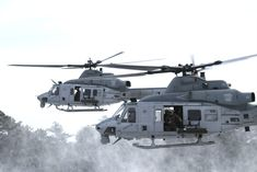 UH-1 Huey Helicopters snow
