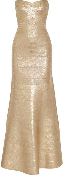 Hervé Léger - Sara Strapless Metallic Bandage Gown - Gold Evening Dresses, Formal Dresses, Party Dresses, Fall Skirts, Herve Leger, How To Feel Beautiful, Fashion Dresses, Metallic, Gowns