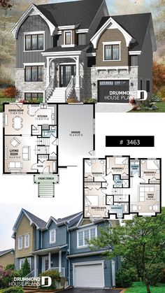 European 4 bedroom with 2 living rooms and a garage . Luxurious European 4 bedroom with 2 living rooms and a garage .Luxurious European 4 bedroom with 2 living rooms and a garage . Sims 4 House Plans, Dream House Plans, House Floor Plans, Dream Houses, 4 Bedroom House Plans, Sims Building, Building A House, Plan Chalet, Sims 4 House Design