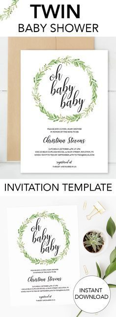 Gender neutral twins baby shower invitation by LittleSizzle. Click through to personalize yours or re-pin for later! Editable invitation template for a twin baby shower. Perfect to welcome the twin babies atyour gender neutral twin shower. Greenery water