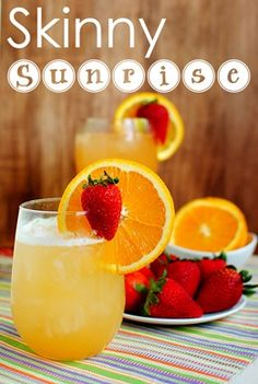 Skinny Sunrise: Fresh squeezed orange juice, 100% pineapple juice, homemade strawberry simple syrup, and rum (or tequila, or vodka!) are shaken with ice, then poured into a glass and topped with fizzy club soda