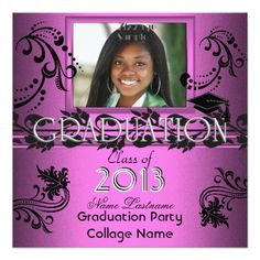 African American Graduation Party Pink Girl Photo Personalized Announcements by Zizzago.com