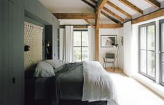 new-york-hudson-valley-retreat-master-bedroom-kendall-charcoal-benjamin-moore-paint-schoolhouse-electric-sconces-crate-barrel-floor-lamp-custom-onefortythree-rocker-chair
