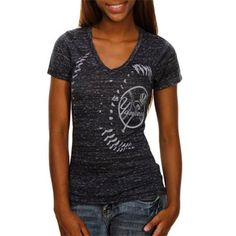 Majestic New York Yankees Ladies Close Up Burnout V-neck Premium T-shirt - Navy Blue #fanatics