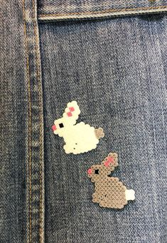 Perler Bead Bunny Pins or Magnets - Set of Great for Easter Baskets, Rabbit Brooch, Bunny Magnet rabbit template bunnies Bunny Rabbit Pins Perler Bead Designs, Easy Perler Bead Patterns, Melty Bead Patterns, Perler Bead Templates, Hama Beads Design, Diy Perler Beads, Perler Bead Art, Pearler Beads, Beading Patterns