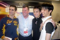 Coach Brian Orser and his skaters. They all train in Toronto.