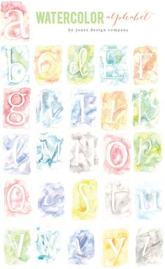 printable watercolor alphabet. Frame a single initial or use them to spell out a word.
