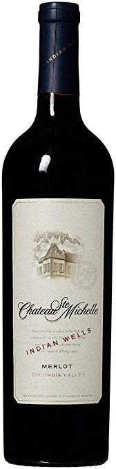 """2014 Chateau Ste. Michelle Indian Wells Merlot Wine 750 mL. """"The Indian Wells Merlot offers ripe berry fruit aromas and jammy flavors typical of Wahluke Slope reds. This is a full bodied style of warm climate Merlot with a round, supple finish. We added Wahluke Slope Syrah to enhance the mouthfeel and rich fruit character. I call this my pasta wine!"""" -Bob Bertheau"""