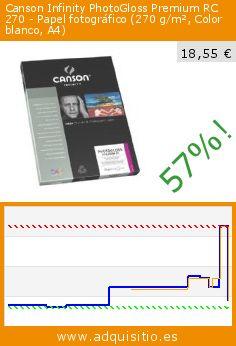 Canson Infinity PhotoGloss Premium RC 270 - Papel fotográfico (270 g/m², Color blanco, A4) (Productos de oficina). Baja 57%! Precio actual 18,55 €, el precio anterior fue de 43,33 €. http://www.adquisitio.es/canson-infinity/photogloss-premium-rc-270
