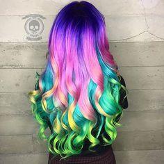 Breathtaking color melt by Rickey Zito; ribbons of curls by Jenny Strebe color melt rainbow hair unicorn hair mermaid hair hotonbeauty.com