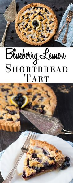 Blueberry Pie just got a sweet and lemony makeover with this recipe for Blueberry Lemon Shortbread Tart. This tart has a buttery, lemon infused, melt in your mouth shortbread base with a luscious, sweet blueberry filling. To top it off, a crumble of the l Blueberry Desserts, Just Desserts, Delicious Desserts, Yummy Food, Lemon Desserts, Tart Recipes, Sweet Recipes, Baking Recipes, Oven Recipes