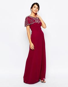 Frock and Frill Maxi Evening Dress with Embellished Cape Detail UK 12/EU 40/US 8