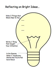 "Here's an exit slip for reflecting on ""bright ideas."""