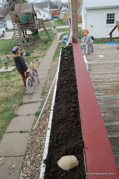 """repurposing old gutters; turning into """"gutter gardens"""".  clean, hang in front of porch, drill holes in bottom, cover bottom with a layer of stones for drainage, then add dirt and appropriate herbs, salad garden plants, strawberries, or whatever you like."""