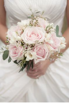 Beautiful subtle bouquet with Rose, Eucalyptus, Waxflowers and Freesia