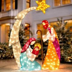 CHRISTMAS SANTA BABY JESUS NATIVITY SET OF 3 LIGHTED YARD DECOR TINSEL