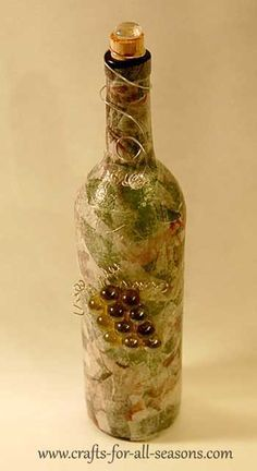 Decorate a wine bottle using decoupage, from Crafts For All Seasons.