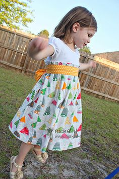Re-purposing old tee into an adorable dress!!