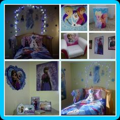 Moriahs NEW room! She loves it! Still adding glittery snowflakes on the wall and ceiling!