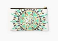 Original Makeup Bag - Design Purse - Awesome Cosmetic Bag - Cosmetic Purse - Mint and Gold Mandala - Made from 100% Polyester - Full printed design by CATCOQ - Gift for HER - Colorful - Ethno style - Geometric pattern