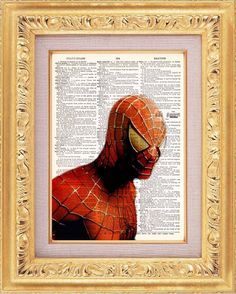 Spiderman Close Up vintage dictionary print book page art print beautifully UpCycled 8x10