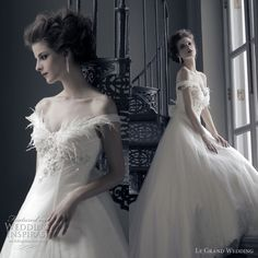 flow and feathers and dotted tulle