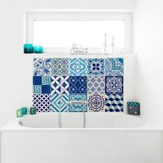 15 stickers carrelages azulejos vintage bleu d'Azure